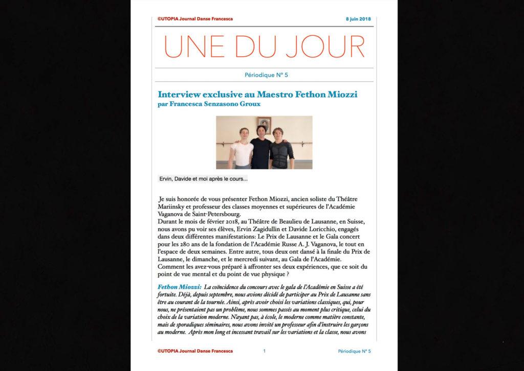 ©Utopia Journal Danse Francesca Périodique n.5 8 Juin 2018 version française page 1