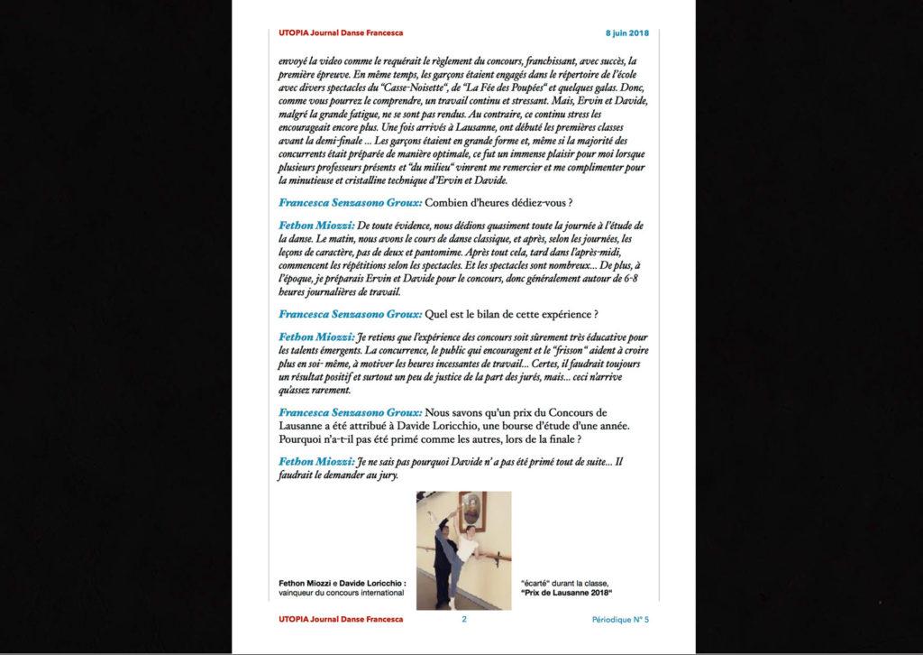 ©Utopia Journal Danse Francesca Périodique n.5 8 Juin 2018 version française page 2