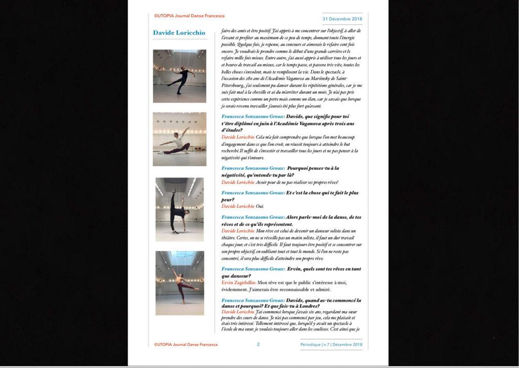 ©Utopia Journal Danse Francesca Périodique n.7 31 Décembre 2018 version française page 2