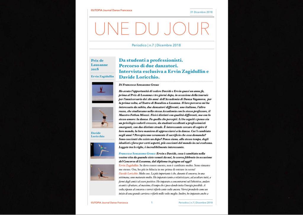 ©Utopia Journal Danse Francesca Periodico n.7 31 Dicembre 2018 versione italiana pagina 1