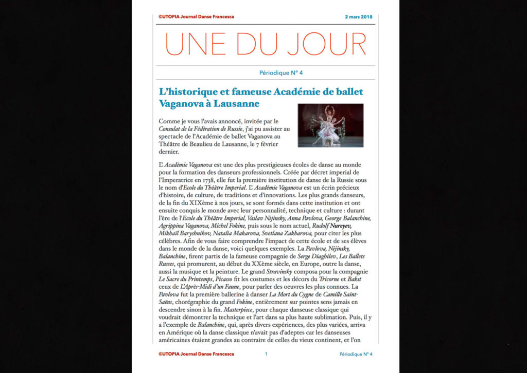 ©Utopia Journal Danse Francesca Périodique n.4 2 Mars 2018 page 1 version française