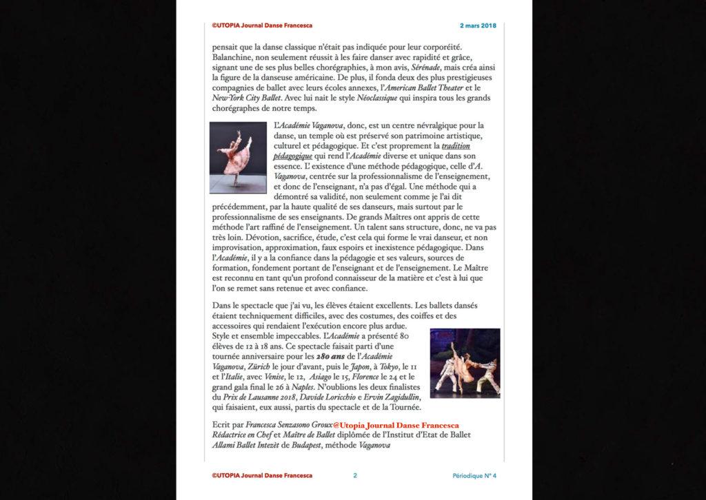 ©Utopia Journal Danse Francesca Périodique n.4 2 Mars 2018 page 2 version française