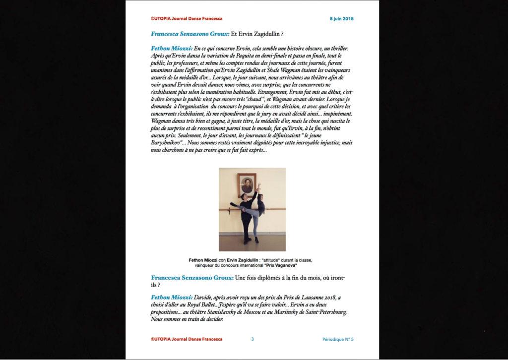 ©Utopia Journal Danse Francesca Périodique n.5 8 Juin 2018 version française page 3