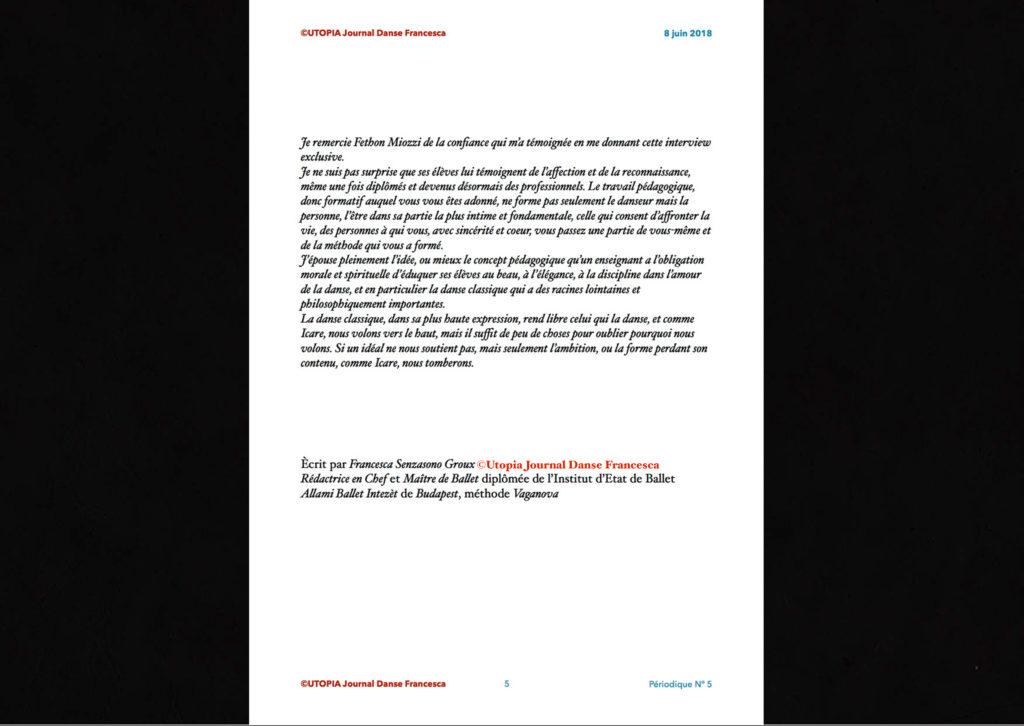 ©Utopia Journal Danse Francesca Périodique n.5 8 Juin 2018 version française page 5