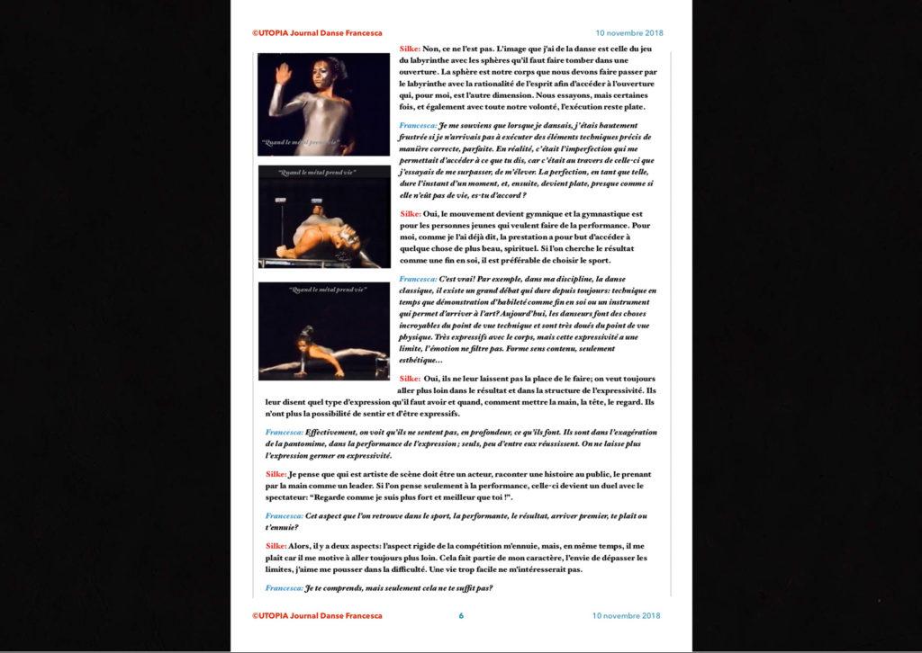 ©Utopia Journal Danse Francesca Périodique n.6-10 Novembre 2018 version française page 6