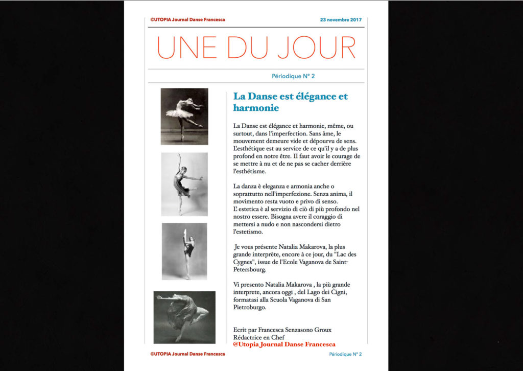 @Utopia Journal Danse Francesca Périodique n.2 -23 Novembre 2017 version bilingue