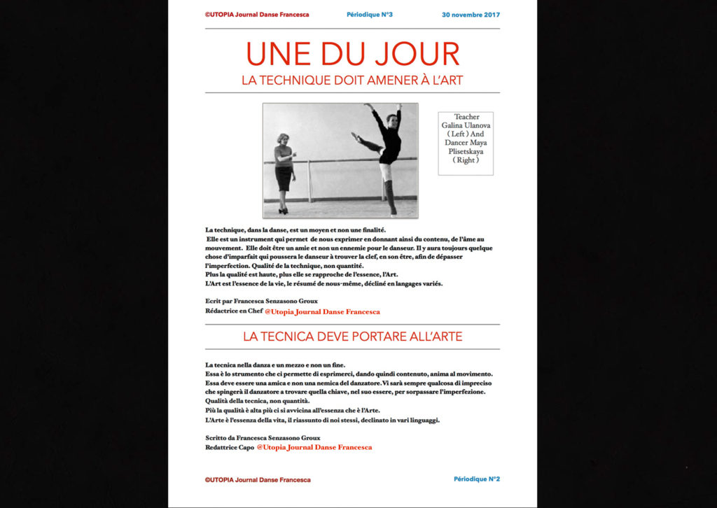 @Utopia Journal Danse Francesca Périodique n.3-30 Novembre 2017 page 1 version bilingue